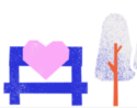 Wintersession health and mindfulness logo: a heart sitting on a park bench next to two trees